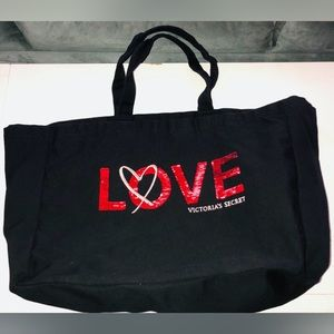 Victoria Secret LOVE Black canvas Tote